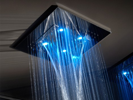 luxury shower from gessi private wellness line of multi functional rain showers