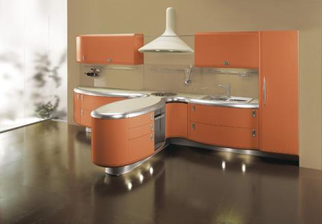 Giemmegi Americana Kitchen in orange with island