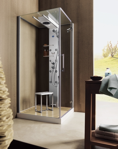 glass idromassaggio shower cabin 2 Shower cabin by Glass Idromassaggio   new Andros cabins with sliding shower heads