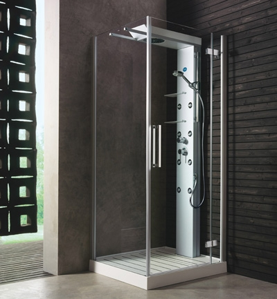 glass idromassaggio shower cabin andros 1 Shower cabin by Glass Idromassaggio   new Andros cabins with sliding shower heads