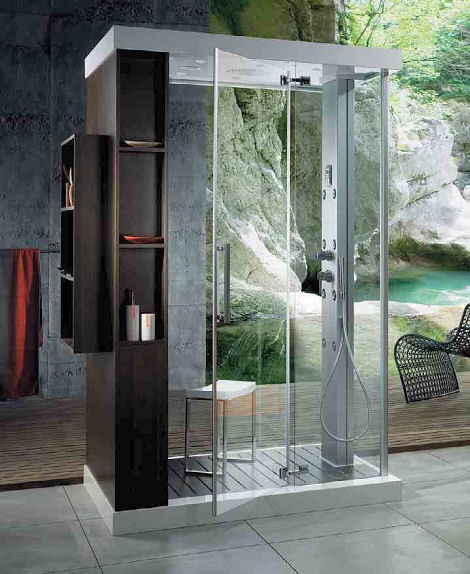 glass shower cabin Shower Cabin Anthropos from Glass Idromassaggio   the Multi Function Shower Cabin