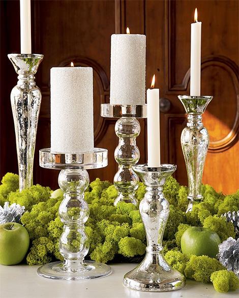 glass sphere & mercury taper candleholders