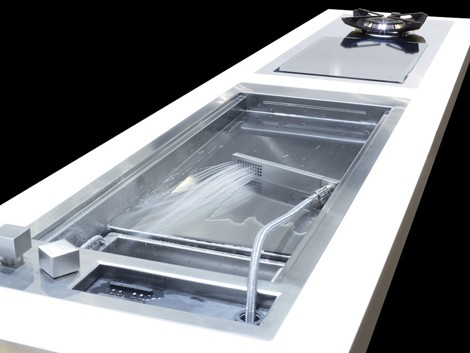 Shallow Prep Sink From Glem With A Cascading Water Jet
