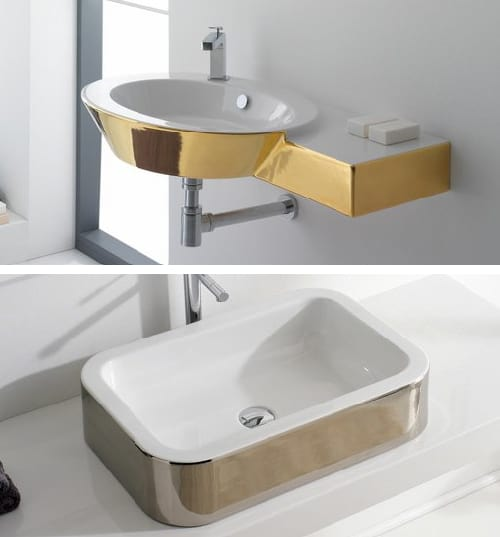 3 Gold Colored Bathroom Fixtures By Scarabeo