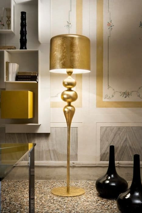 Beautiful Gold Lamps With Golden Lamp Shades By Masiero