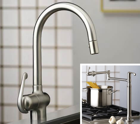 1 New Grohe Ladylux Pro Kitchen Faucet And Ladylux Pro Deck Mount Pot Filler