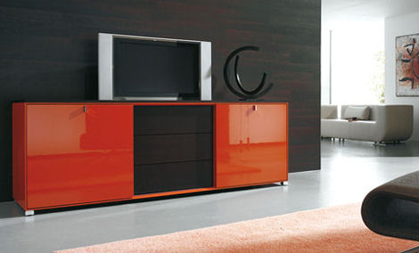 gruber schlager cubico wall unit tv open TV Wall Unit from Gruber Schlager  the Cubiko Wall Unit