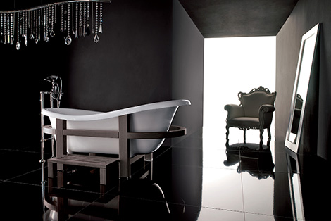 gruppo treesse bathtub epoca one top 2 Freestanding Bathtub from Gruppo Treesse   Epoca One Top in a wooden embrace
