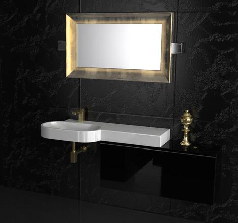 gruppotarrini vanity daiquiri gold mirror Italian Bathroom Vanity from Gruppotarrini: sleek and sophisticated