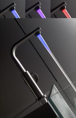 guglielmi led colored faucet Kitchen LED faucet from Guglielmi   the new colored Temperatura Colorata faucet