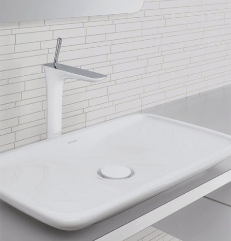 hansgrohe faucet pura vida 1 Hansgrohe PuraVida Faucets   new bathroom trend for 2009: white lacquer with polished chrome!