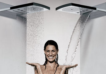 hansgrohe raindance rainfall shower head 3 in 1 a soft rain a massaging downpour and a. Black Bedroom Furniture Sets. Home Design Ideas