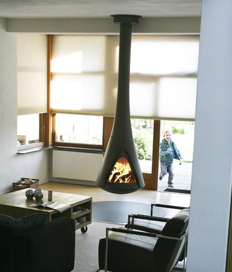harrie leenders hanging stoves 1 Hanging Stoves   rotating stove with open fire by Harrie Leenders