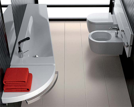 hatgrand3231 Heated Washbasin System Grandangolo from Hatria   new innovative washbasins