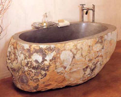 Stone Forest Natural Stone Bathtub – carved from a granite boulder!