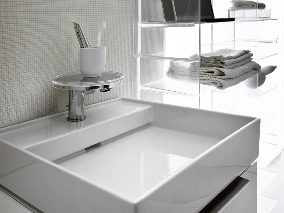 hidden drain sinks by kartell for laufen. Black Bedroom Furniture Sets. Home Design Ideas
