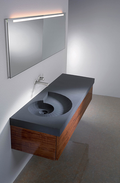 hightech concrete washbasin ammonite Concrete Washbasin from HighTech Ammonite  washbasin shaped as a fossil