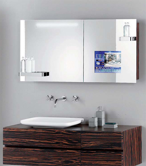 hoesch singlebath mirror tv closeup Hoesch SingleBath bathroom suite   Mirror TV Cabinet   mans dream bathroom?