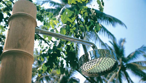 honeymshower1 Outdoor Shower from Honeymoon   Waimea wood shower