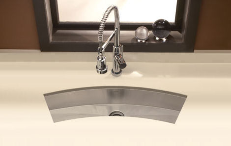 houzer curved trough bar prep sink 3312 Houzer Zero Radius Undermount Trough Bar / Prep Sink