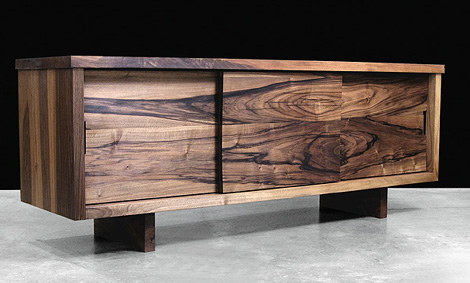 modern wooden furniture. Hudson Furniture Sliding Door Console Modern Solid Wood From Furniture, In Claro Walnut Wooden N