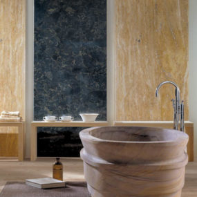 Natural Stone Bathroom from IL Marmo – Fusion luxury bathroom fixtures carved from natural stone