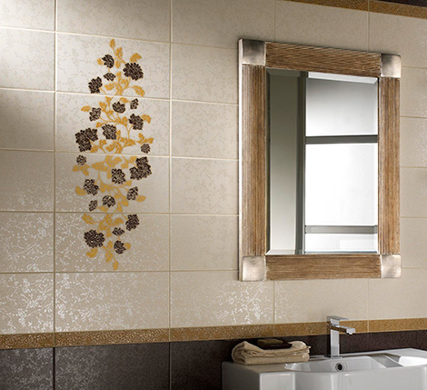 imotil3082 Decorative Tiles from Ceramica DImola   Jabot floral pattern ceramic tile
