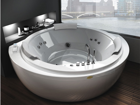 Corner Whirlpool Bath from Jacuzzi   new round Nova. Corner Whirlpool Bath from Jacuzzi   new round Nova