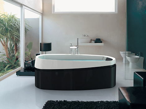jacuzzi freestanding bath ardore Ardore Freestanding Bath by Jacuzzi   soaker baths in black and white