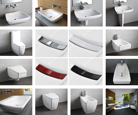 Modern Bathroom Suite from Jacuzzi Europe – new Nexus suite comes with changeable drain covers in 4 colors