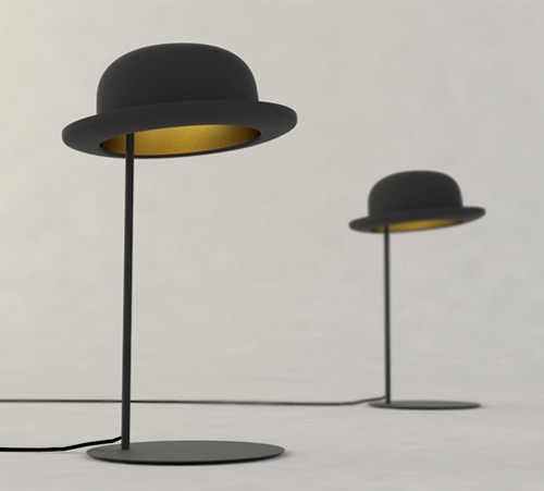 jake phipps hats table lamps jeeves 3 Hat Table Lamp by Jake Phipps
