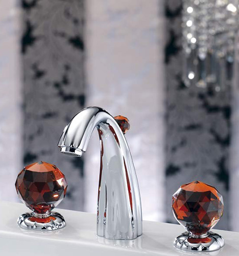 joerger florale faucet crystal glass handles amber Luxury Faucets with Crystal Glass Handles from Joerger
