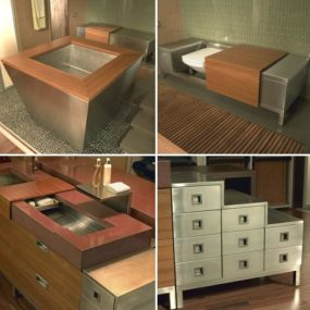 "New Julien Bathroom Suite by Troy Adams Design – ""feminizing stainless steel"""