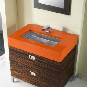 New Julien Bath Console by Troy Adams Design – Exotic wood and CaesarStone Accents