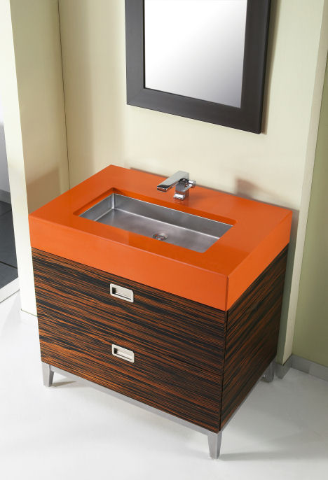 julien troy adams bath console New Julien Bath Console by Troy Adams Design   Exotic wood and CaesarStone Accents