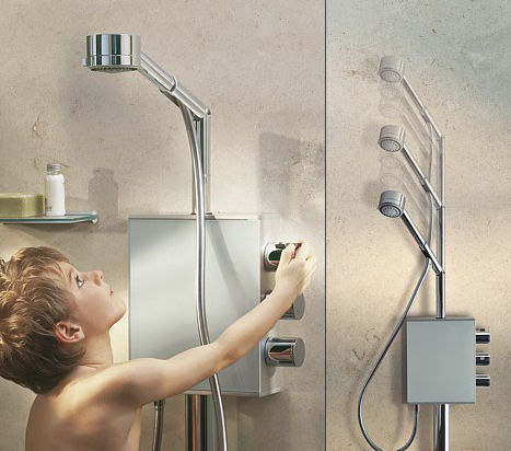keuco aquamove height adjustable shower Height Adjustable Showerhead Aquamove from Keuco   a shower fit for the whole family