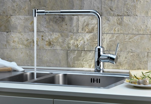 kludi kitchen faucet l ine 1 Telescopic Kitchen Pull Out Faucet by Kludi   L ine