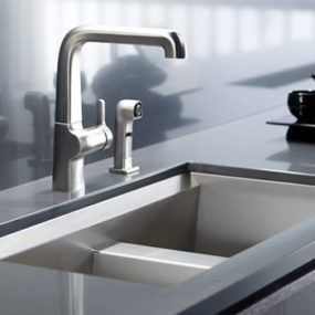 New Kohler 8 Degree Stainless Steel Kitchen Sink with beveled edge – ideal for wine lovers