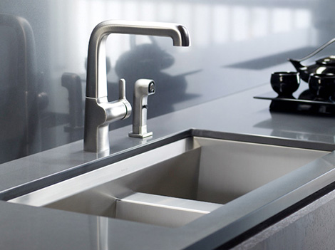 kohler 8 degree medium kitchen sink New Kohler 8 Degree Stainless Steel Kitchen Sink with beveled edge   ideal for wine lovers