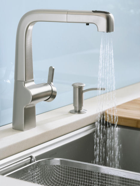 fixtures faucets modern pull kitchen bathroom single cruette for vs k steel out top down water best handle faucet kohler vibrant stainless