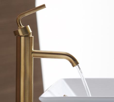 kohler purist single control lavatory faucet gold Brushed Gold Bathroom Faucets by Kohler