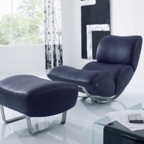 Leather Rocking Chair with Footstool by Koinor