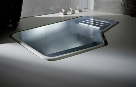 Interior Pool by Kos – Faraway mini-pool creates ripples
