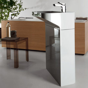 Free-Standing Sinks from Kos – Lab01 and Lab02 floor-mount designs