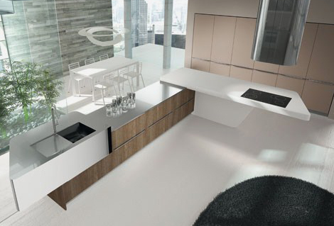 laminate kitchens arrital yoshi 2 Laminate Kitchens by Arrital in gloss colors and wood finishes