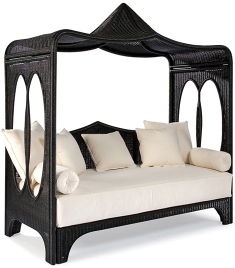 laneventure wicker daybed Wicker Daybed by Laneventure   canopied Zinnia from WeatherMaster line