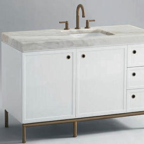 Kallista Vir Stil vanity by Laura Kirar – new white lacquer finish