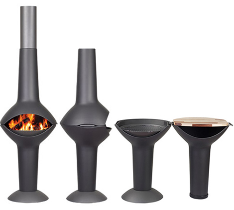 leenders outdoor stove bbq lumos 3 Outdoor Fireplace Turns into BBQ Grill   Lumos by Harrie Leenders
