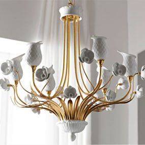 Italian Porcelain Chandelier by Le Porcellane – Orchidea