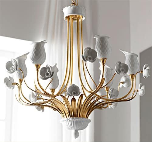leporcellane lamp orchidea 1 Italian Porcelain Chandelier by Le Porcellane – Orchidea